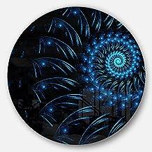 Designart Endless Spiral Snail Blue Abstract Digital Art Metal Artwork-Disc of 11 inch, 11'' H x 11'' W x 1'' D 1P