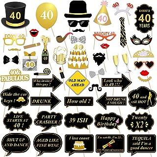 c2c7801b0b Konsait 40th Birthday Party Photo Booth Props (53Pcs) for Her Him Funny 40  DIY