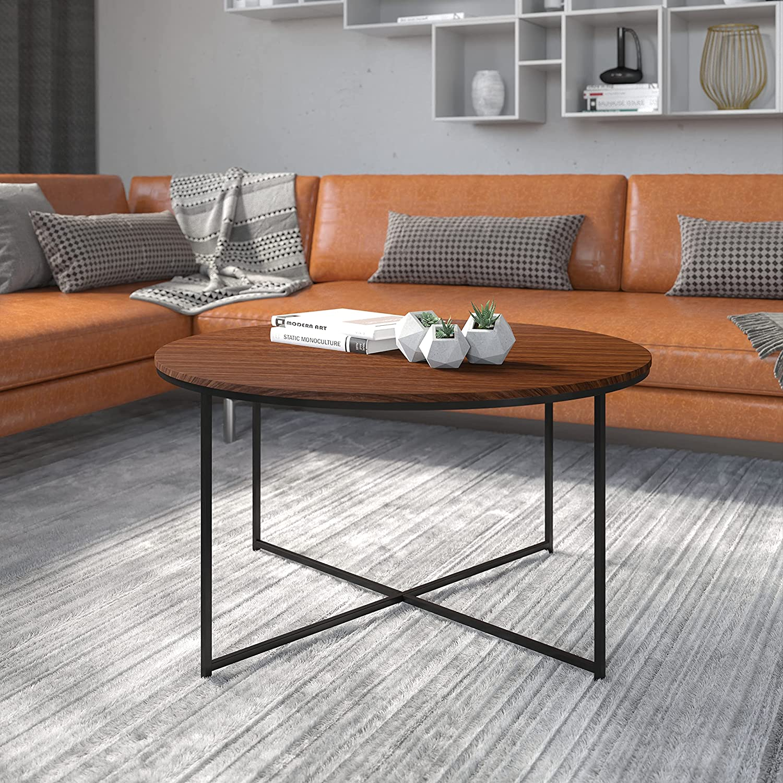 Flash Furniture Hampstead Collection Coffee Table - Modern Walnut Finish Coffee Table - Crisscross Matte Black Frame