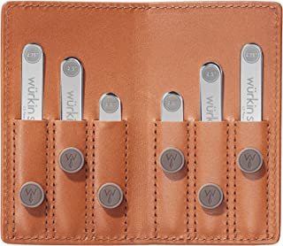 گردنبند Stiffs قدرت سفر سفر مجموعه مجموعه یقه مغناطیسی باقی مانده در کیف پول چرم قهوه ای