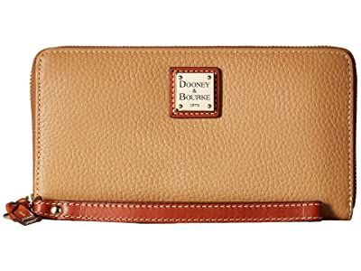 Dooney & Bourke Pebble Leather Large Zip Around Wristlet (Desert) Wristlet Handbags