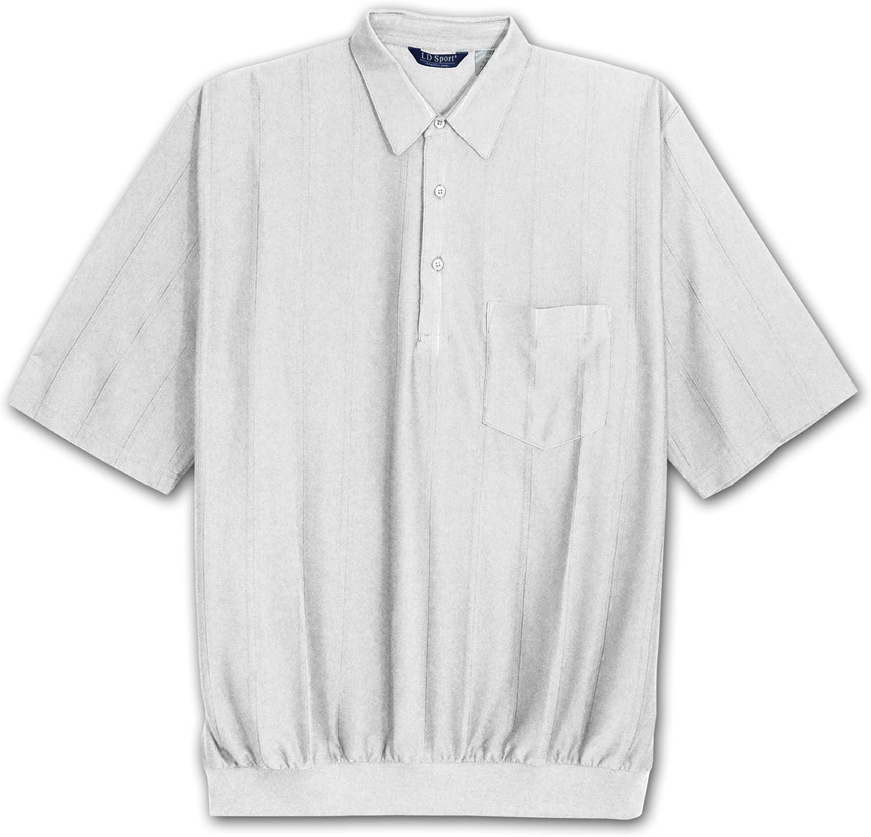 LD Sport Big & Tall Short Sleeve Pleated Knit Tone on Tone Banded Bottom Shirt