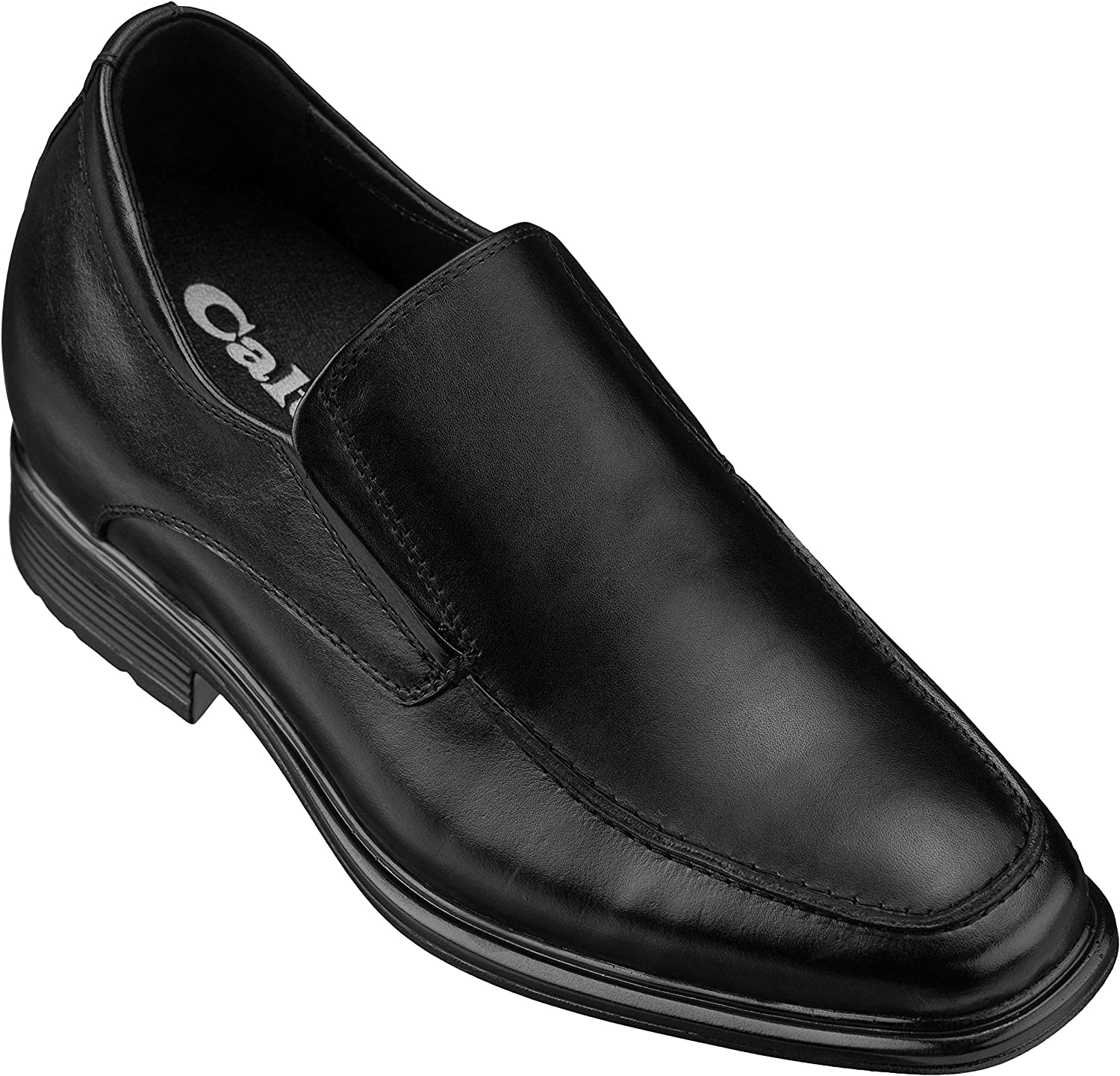 CALTO Men's Invisible Height Increasing Elevator shoes - Black Premium Leather Slip-on Formal Loafers - 3 Inches Taller - G60128A