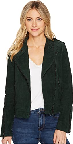 Blank NYC - Emerald Green Moto Suede Jacket in Ever Green