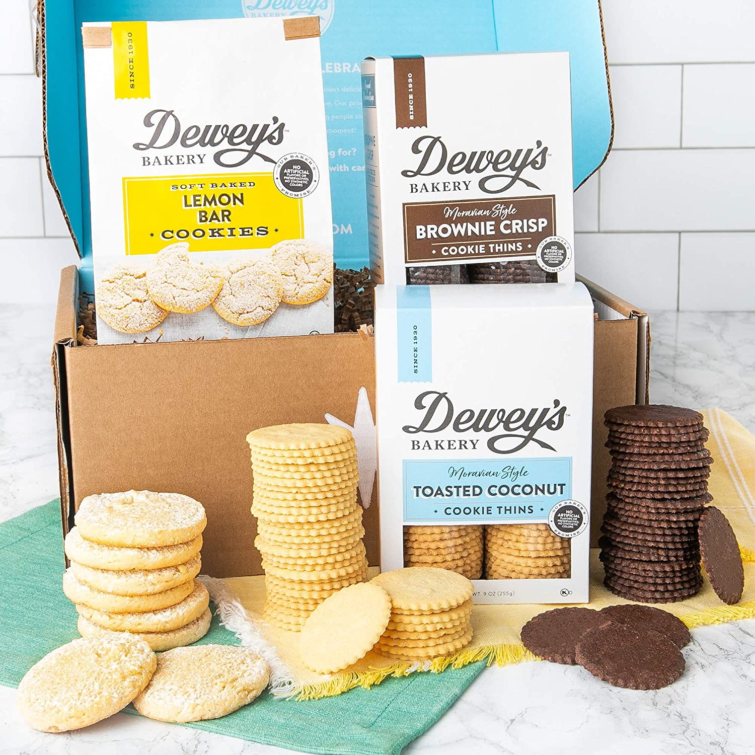 Dewey's Bakery Cookie Gift Basket - Moravian Cookies, Lemon Bar Soft Baked Cookies - 3 Piece Cookie Gift Box | Southern Treats for Birthday, Mother's Day, Get Well, Care Packages, Father's Day