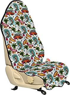 Ambesonne Ocean Car Seat Hoody, Hawaiian Surfer on Wavy Deep Sea Retro Style Palm Trees Flowers Surf Boards Print, Car Seat Cover Protector Non Slip Backing Universal Fit, 30