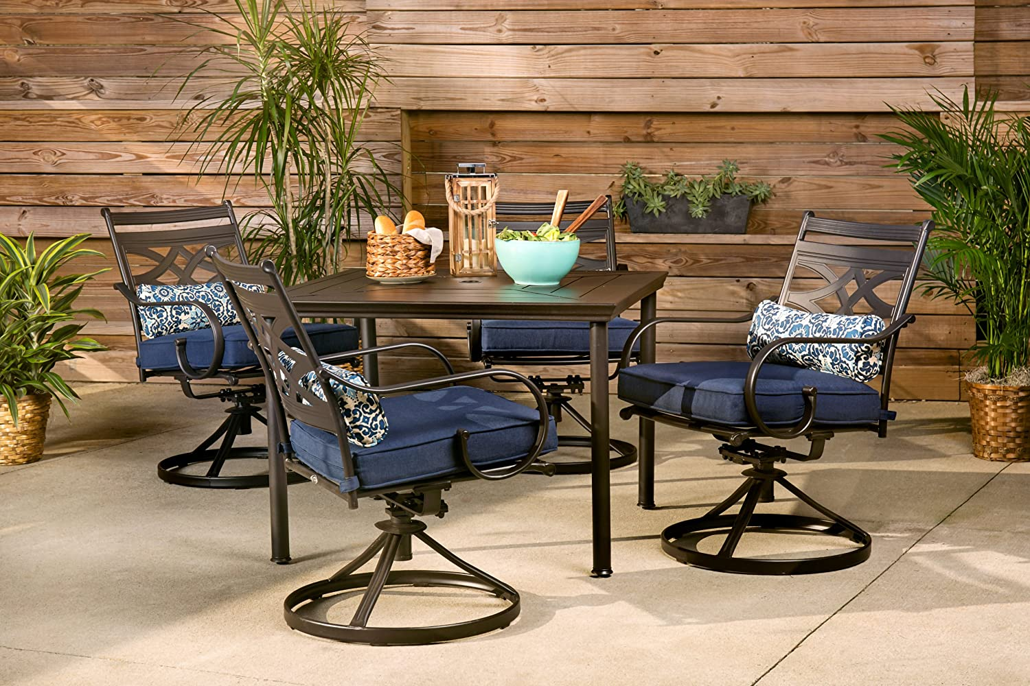 Hanover MCLRDN10PCSQSW10 NVY Montclair 10 Piece Patio Dining Set in Navy Blue  with 10 Swivel Rockers and a 100 Inch Square Table Outdoor Furniture