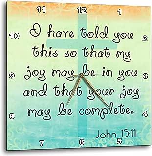 3dRose Verse John 15-11 Gradient Cross Bible Christian Inspirational Saying-Wall Clock, 15-inch (DPP_150070_3)