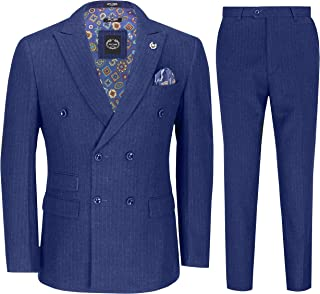 Mens 3 Piece Double Breasted Suit Blue Retro 1920s Pinstripe Gatsby Jacket Waistcoat Trousers