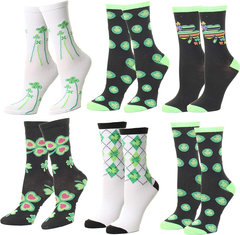 St Patricks Day Novelty Socks Shamrock Socks Lucky Irish Crew Socks Four Leaf Clover Running Socks St Paddys Day Run Irish Socks