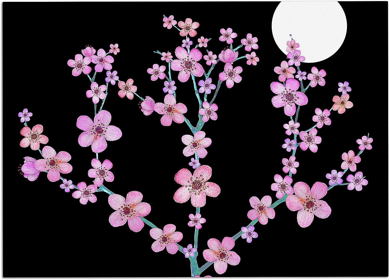 KESS InHouse JG1077ADM02 Julia Grifol Cherry Blossom at Night Pink Black Dog Place Mat, 24  x 15