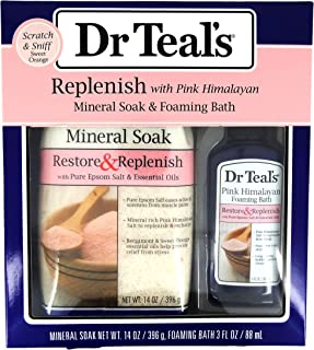 Dr Teal's Replenish with Pink Himalayan Mineral Epsom Salt Soak & Foaming Bath 2-Piece Travel Gift Set