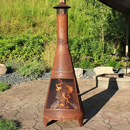 "70"" Chiminea Wood-Burning Fire Pit Steel with Oxidized Rustic Finish-Fire Pit-Wood Stove-Outdoor Heater-Wood Burning Stove-Outdoor fire Pit-Outdoor fire pits-Outdoor Fireplace-Wood Burning-Fire Wood"