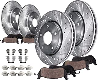 Detroit Axle - All (4) Front and Rear Drilled and Slotted Disc Brake Rotors w/Ceramic Pads w/Hardware For 2003-2005 Nissan Murano - [2009-2012 Nissan Murano (EXCLUDING Cross-Cabrio)]
