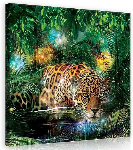 Forwall Bilder Jaguar Dschungel Tiere Modern Schlafzimmer Wohnzimmer Leinwandbilder Wandbild Kunstdruck Wandbilder Wand Bild auf Leinwand...