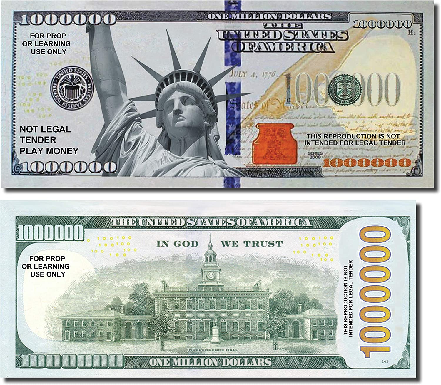 Million Dollar Play Money Bills, 50 Bills per Pack of Best Real Looking Size & Color, The #1 Selling for Schools, Props, and Fun (A: Million Dollar Bills)