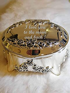 LYC Customized Engraved Oval Musical Jewelry Box Titanic Song with Rose Flower Best Gift for her/Valentine's Day/Mother's Day/Birthday
