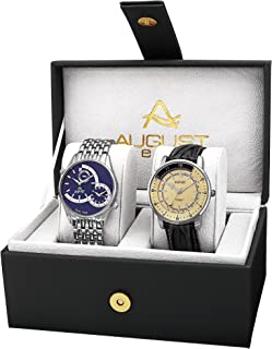 August Steiner  AS8199SSB  Watch with Black, White/Black, Cream Dial and Silver, Black  Bracelet