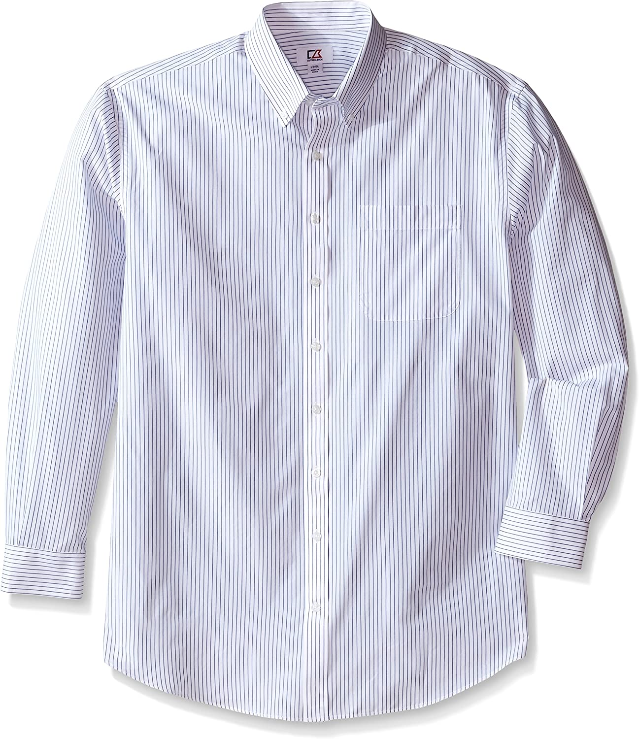 Cutter & Buck Men's Big and Tall Long Sleeve Epic Easy Care Pin-Stripe, White/French Blue, 2X/Big