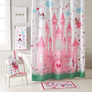 dream FACTORY Magical Princess Fabric Shower Curtain, 72 x 72 inches, Pink