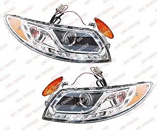 QSC Headlights Assembly w/LED Stripe Left Right Set for International Durastar