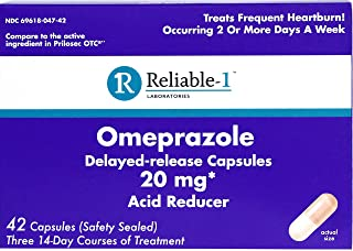 Reliable-1 Laboratories Omeprazole Delayed-Release Capsules 42 Count, 20Mg Acid Reducer (3 Bottles, 14 Count/ea)