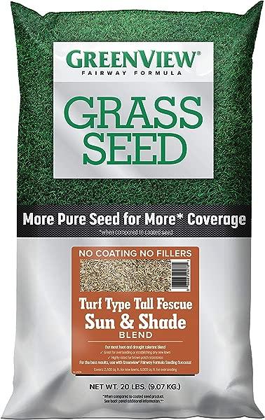 GreenView 2829348 Fairway Formula Grass Seed Turf Type Tall Fescue Sun Shade Blend 20 Lb