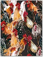 DESIGN ART Designart 'Group of Rooster in Watercolor Painting' Farmhouse Animal Painting Print on Wrapped Canvas - Black 30 in. Wide x 40 in. high