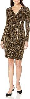Calvin Klein Women's Petite Metallic Faux Wrap Dress