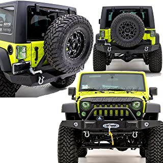 Restyling Factory -Rock Crawler Front Bumper with OE Fog Lights Hole and Winch Plate+Full Width Rear Bumper with Tire Carrier & 2
