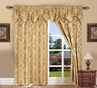 Elegant Comfort Penelopie Jacquard Look Curtain Panel Set with Attached Waterfall Valance, Set of 2, 54x84 Inches, Gold