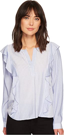 Long Sleeve Mix Stripe Ruffle Front V-Neck Shirt