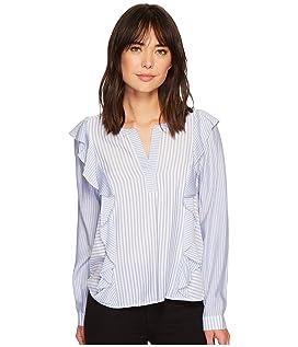 Long Sleeve Mix Stripe Ruffle Front V-Neck Shirt
