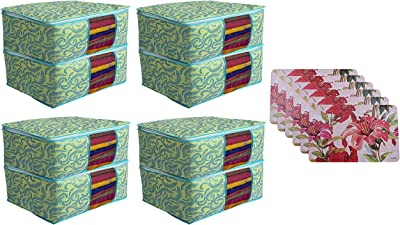 Kuber Industries Flower Design PVC 6 Pieces Dining Table Placemat Set (Pink), CTKTC013697 & Metalic Print 8 Piece Non Woven Saree Cover Set, Green Combo