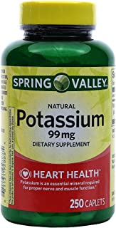 Spring Valley Potassium 99 mg from Potassium Gluconate 595 mg (250 Count)