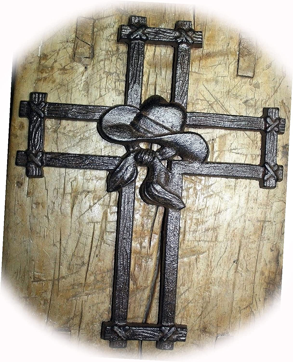 New Huge Cast Iron Chicago Mall Victorian Style Hat Wall Cross COYBOY Rustic Free shipping / New