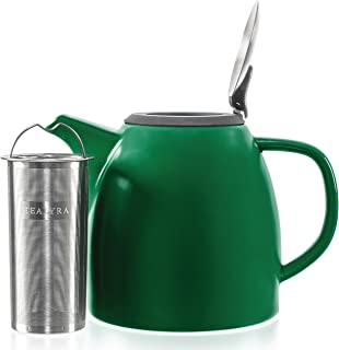 Tealyra - Drago Ceramic Teapot Green - 37oz (4-6 cups) - Large Teapot with Stainless Steel Lid Extra-Fine Infuser for Loose Leaf Tea - Lead-free - 1100ml