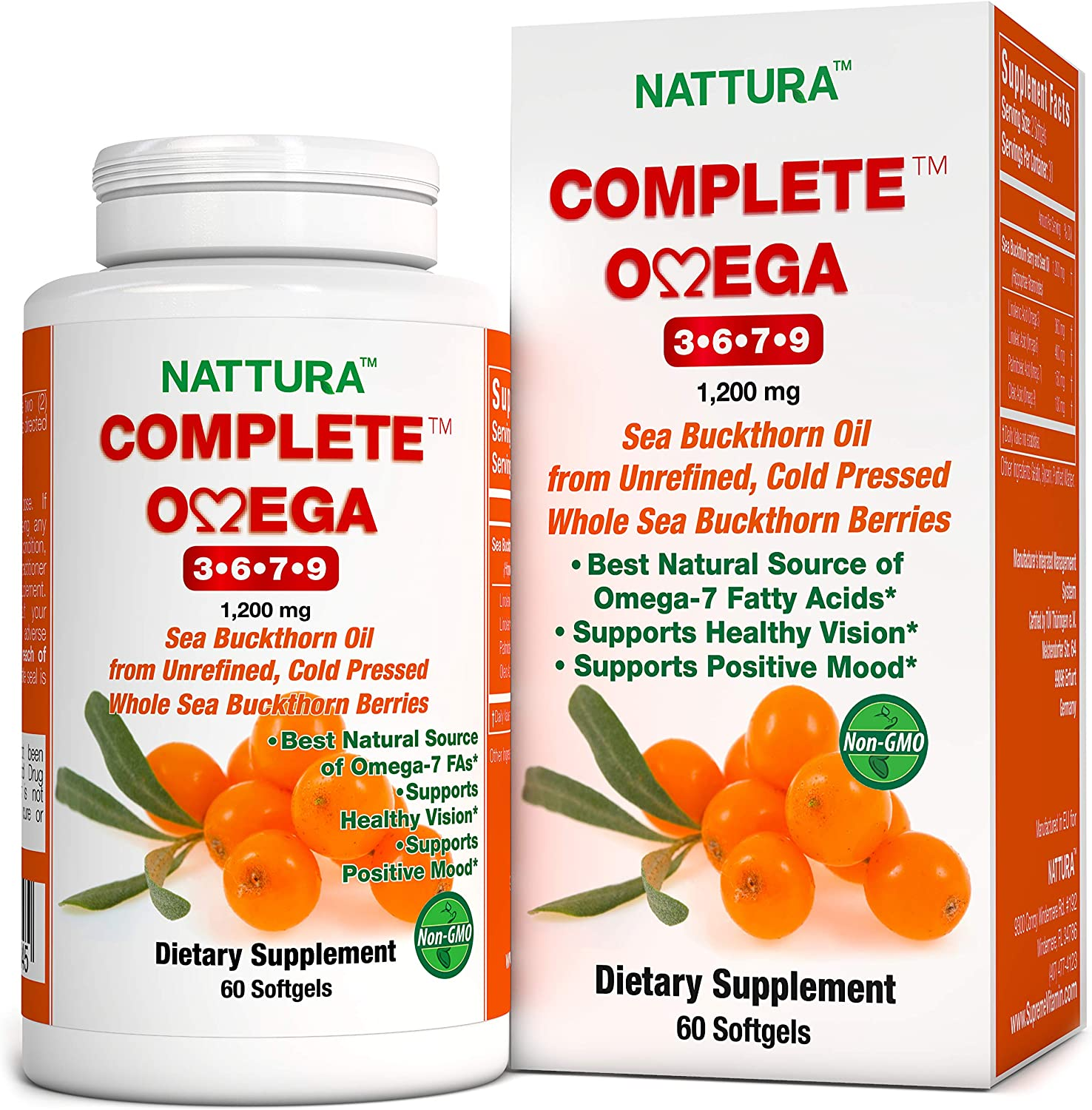 Amazon Com Complete Omega 3 6 7 9 Pure Sea Buckthorn Oil European Quality From Unrefined Cold Pressed Whole Sea Buckthorn Wild Berries Non Gmo Certified Kosher Gluten Free 1 Bottle 60 Capsules Health Personal Care