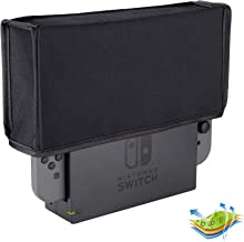 eXtremeRate Black Nylon Dust Cover, Soft Velvet Lining Dust Guard, Anti Scratch Waterproof Cover Sleeve for Nintendo Switch Charging Dock