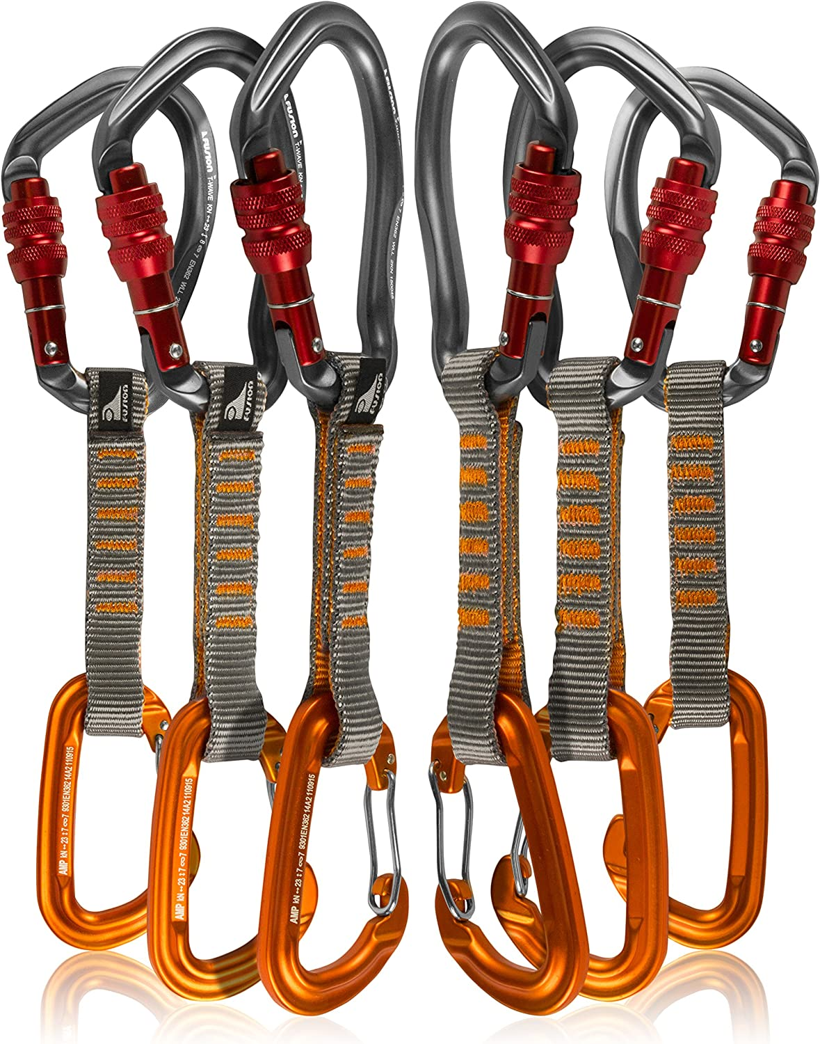 Fusion Climb Credence 6-Pack List price 11cm Quickdraw Set with Wave Techno Burgundy