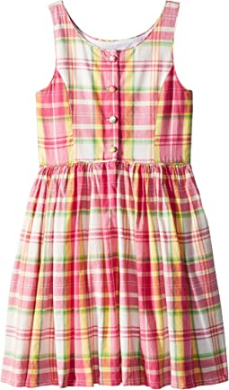 Polo Ralph Lauren Kids Madras Cotton Sleeveless Dress (Little Kids)