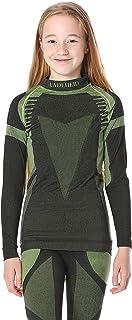 Ladeheid Camiseta Térmica Mangas Largas Ropa Interior Unisexo Niños LASS0007 (Negro/Verde, 146-152)