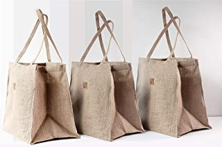 Love Triangles Collection Set of 3 Anti-Plastic Grocery Bags Jute Natural Reusable Gift Planters