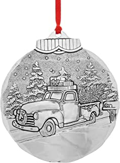 Wendell August Road to Home Hanging Ornament - Detailed Hand-Hammered Aluminum on Truck in Snowy Landscape - Made in USA Tree Decoration, 3