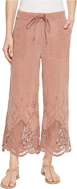 XCVI - Tangerine Embroidered Gauze Pants