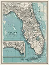 Giclee Map of Florida - Large Vintage Map of The Sunshine State - Ready to Frame (Size 24 x 30 inches) - Great Housewarming Gift, Birthday Present, Home Decor