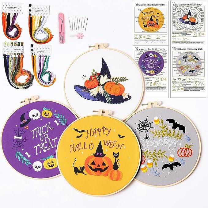 4 Part Halloween Embroidery Kit