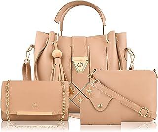 DYMEK PU Leather Latest Trendy Fashion Ladies Handbag With Sling Bag & Clutch Combo 5 pcs Purse Set