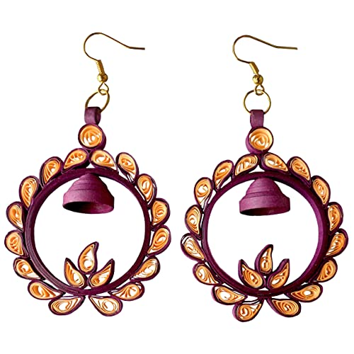 6a2f0917a Designers Collection Purple Orange Non-Precious Metal Paper Quilling  Earrings for Women