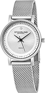 Stuhrling Original Women's 734LM.01 Ascot Casatorra Elite Stainless Steel Watch with Diamond